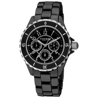 Akribos XXIV Women's Ceramic Multifunction Black Bracelet Watch with FREE GIFT