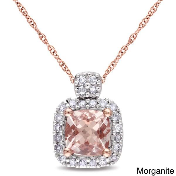 Miadora 10k Rose Gold Morganite and 1/10ct TDW Diamond Necklace (G-H, I1-I2)