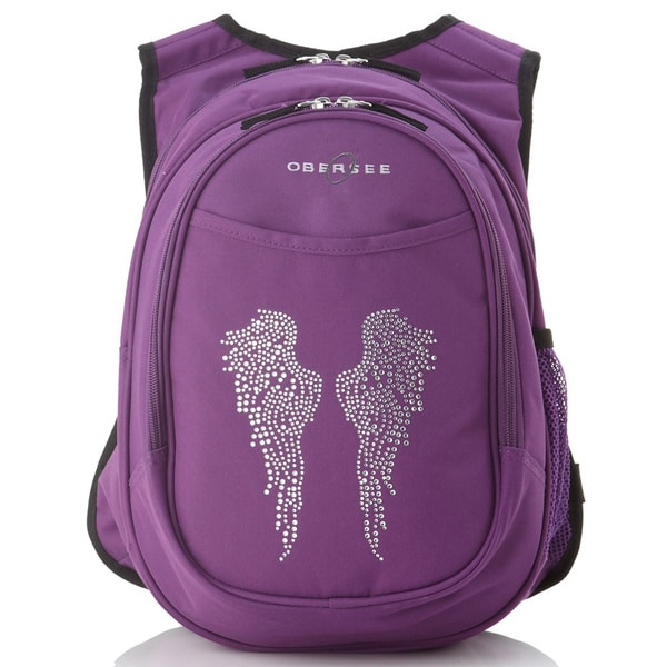 Obersee Kids All-In-One Bling Rhinestone Angel Wings Backpack With Cooler