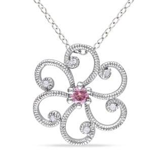 Miadora Silver 1/6ct TDW Pink Diamond Flower Necklace