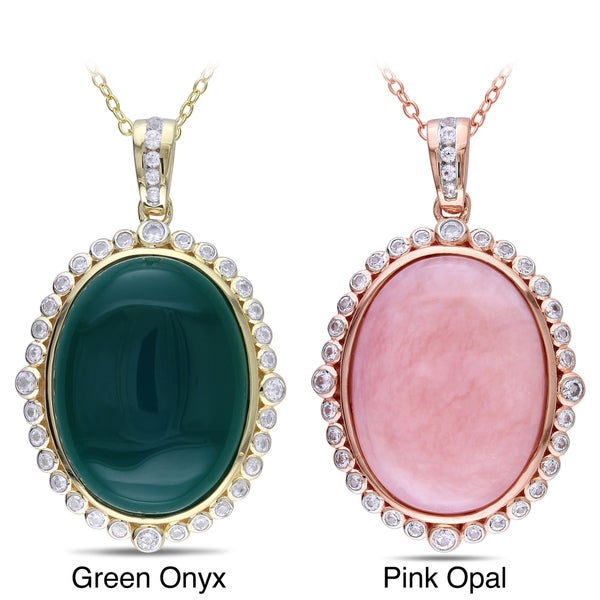 Miadora Silver Pink Opal or Green Onyx Gemstone Necklace