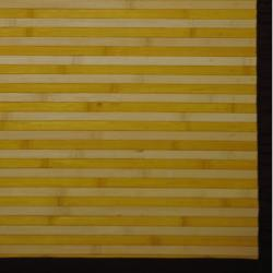 Asian Hand-woven Yellow/ White Rayon from Bamboo Rug (2' x 3')