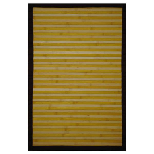 Handmade Asian Hand-woven Yellow/ White Rayon from Bamboo Rug - 2' x 3'