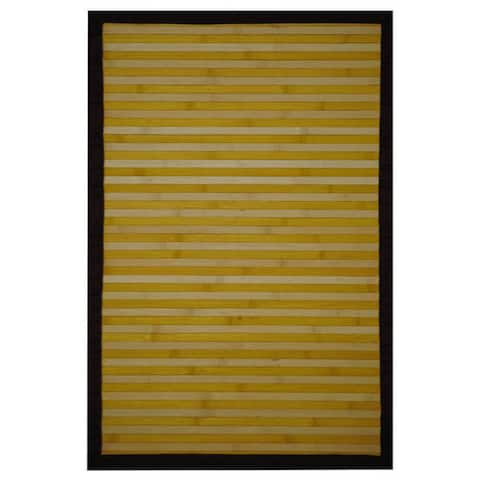 Handmade Yellow and White Rayon from Bamboo Rug - 2' x 3'