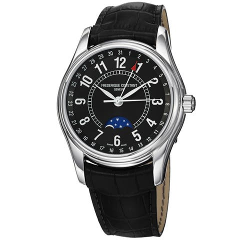 Frederique Constant Men's FC-330B6B6 'Index' Black Leather Watch