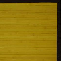 Asian Hand-woven Yellow Rayon from Bamboo Rug (2' x 3')