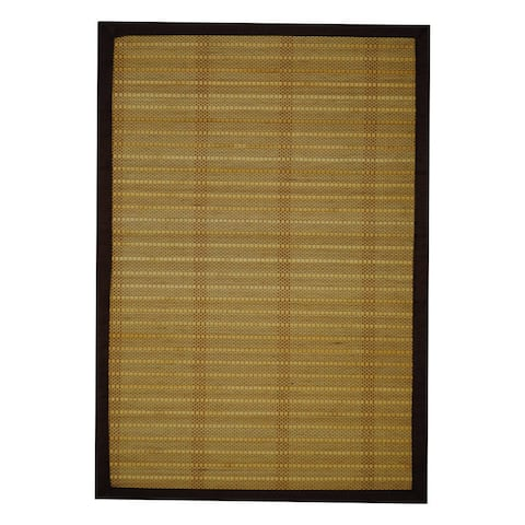 Handmade Asian Handwoven Beige Natural Rayon from Bamboo Rug - 1'8 x 2'8