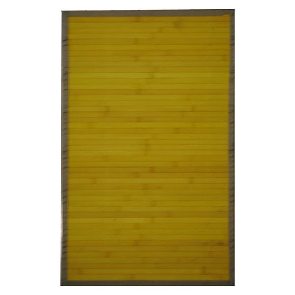 Asian Hand-woven Yellow Rayon from Bamboo Rug (1'8 x 2'8)