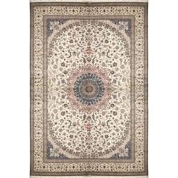 Nourison Hand-knotted Persian Nain One of a Kind Ivory Rug (20' x 29')