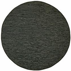 Hand Woven Matador Black Leather (8' x 8' Round)