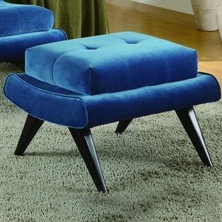 Cerulean Blue Fabric with Ebony Wood Legs Ottomon