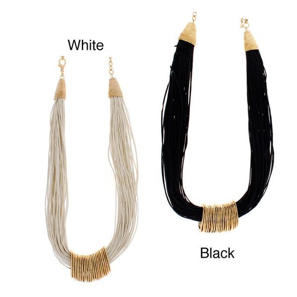 NEXTE Jewelry Goldtone Black or White 60-strand Necklace