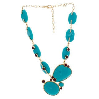 NEXTE Jewelry Gold Overlay Turquoise Lucite, Red and Clear CZ Necklace