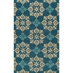 South Beach Indoor/Outdoor Blue Medallions Rug (2' x 3')