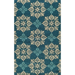 "South Beach Indoor/Outdoor Blue Medallions Rug (3'9"" x 5'9"")"