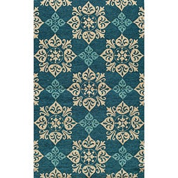 South Beach Indoor/Outdoor Blue Medallions Rug (5' x 8')