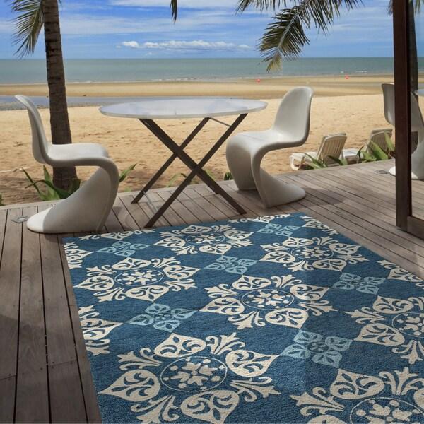 Outdoor Pool Area Rugs: Shop Momeni Veranda Blue Pool Tile Indoor/Outdoor Rug