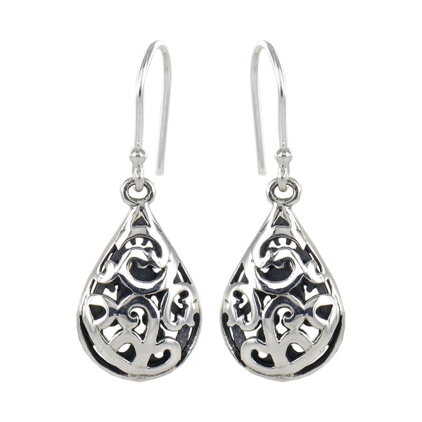 Sunstone Sterling Silver Teardrop Filigree Dangle Earrings