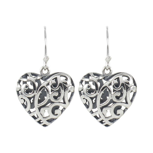 Sunstone Sterling Silver Filigree Open Heart Dangle Earrings