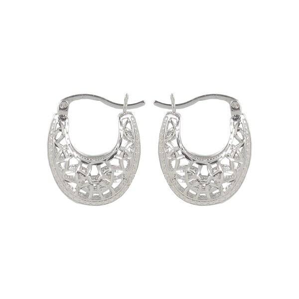 Sunstone Sterling Silver Diamond-cut Filigree Saddleback Hoop Earrings