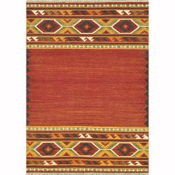 Hand Woven Cordova Red Wool Rug (3'6 x 5'6)
