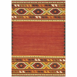 Hand Woven Cordova Red Wool Rug (3'6 x 5'6)