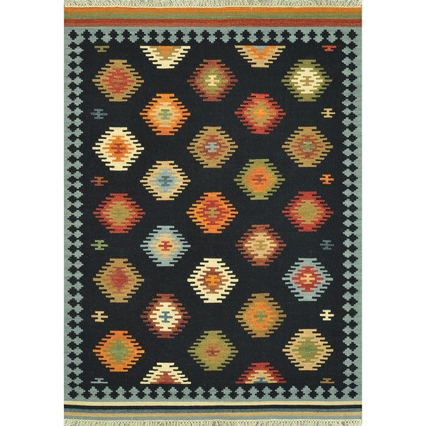 Hand Woven Cordova Black Wool Rug (3'6 x 5'6)