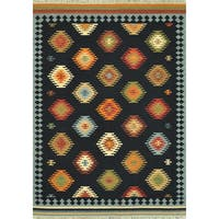 Hand Woven Southwestern Black Wool Area Rug - 5' x 7'6