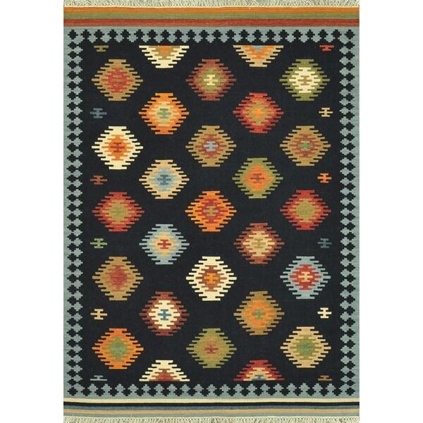 Hand Woven Cordova Black Wool Rug (7'6 x 9'6)