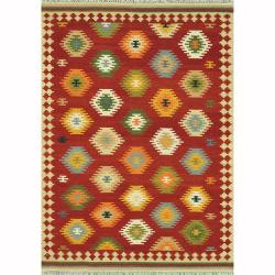 "Hand-woven Southwestern Red/ Multi Area Rug - 3'6"" x 5'6"""