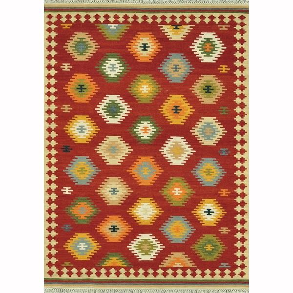 Hand Woven Cordova Red/ Multi Rug (7'6 x 9'6)