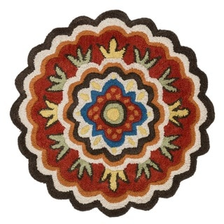 Hand-tufted Lucinda Red Wool Rug (3' Round)
