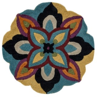 Hand Tufted Lucinda Blue Wool Rug (3'0 Round)