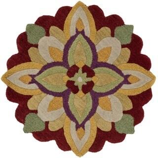 Hand-Tufted Lucinda Red Floral Wool Rug (3' Round)
