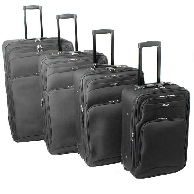 Kemyer Vacationer Lightweight 4-piece Black Expandable Luggage Set