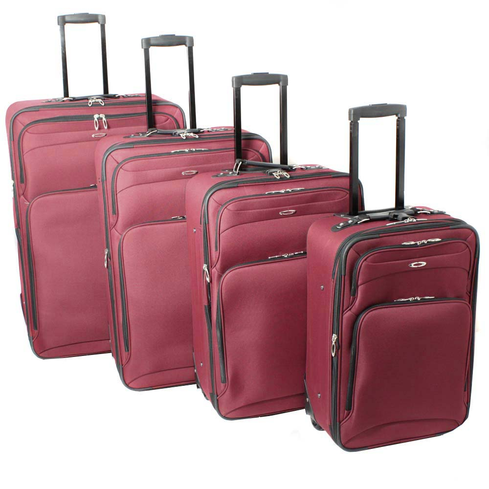 Kemyer Vacationer Lightweight 4-piece Burgundy Expandable Luggage Set