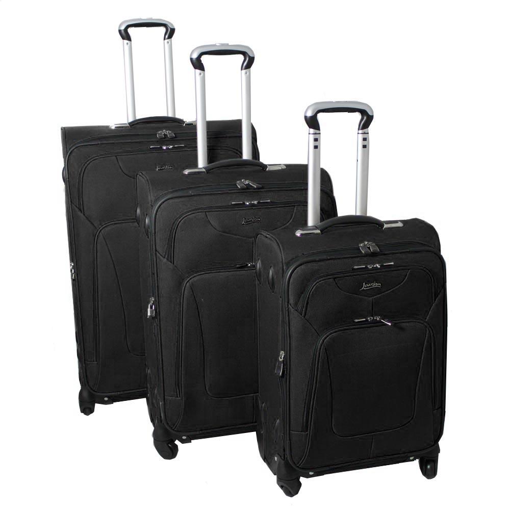 Jourdan Hassle Free Lightweight 3-piece Black Expandable Spinner Luggage Set