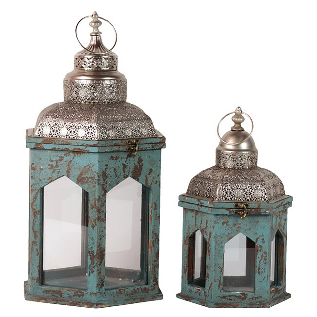Wooden Lantern Set of Two Blue Antique Finish