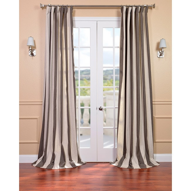 Exclusive Fabrics Veranda Brown Stripe Linen Blend Curtain Panel - Thumbnail 0