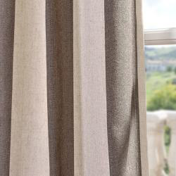 Exclusive Fabrics Veranda Brown Stripe Linen Blend Curtain Panel - Thumbnail 1
