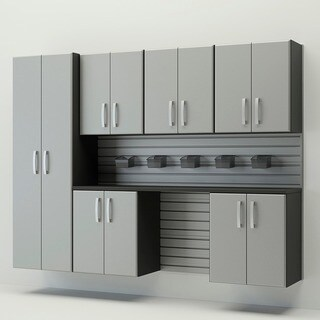 Flow Wall System Silver 7 Piece Silver Cabinet Set