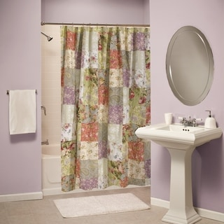 greenland home fashions blooming prairie patchwork cotton shower curtain - Greenland Home Fashions