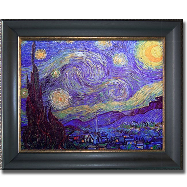 Vincent Van Gogh 'Starry Night' Horizontal Framed Canvas Art