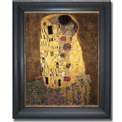 Gustav Klimt 'The Kiss' Framed Canvas Art