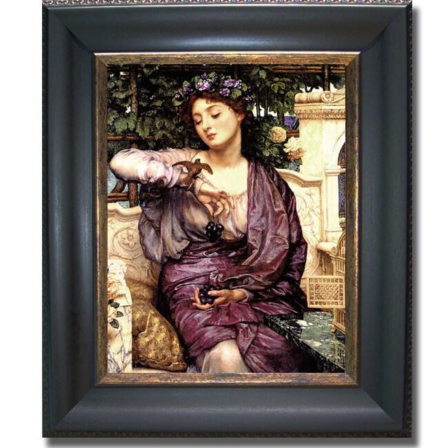 Edward Poynter 'Libra and Her Sparrow' Framed Canvas Art - Multi
