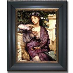 Edward Poynter 'Libra and Her Sparrow' Framed Canvas Art - Thumbnail 0