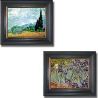 Vincent Van Gogh 'Wheatfield and Irises' Framed 2-piece Canvas Art Set