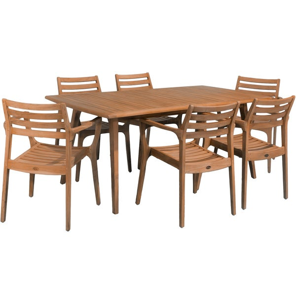 Lombardi 7-piece Outdoor Teak Wood Dining Set by Christopher Knight Home