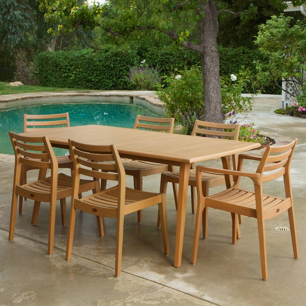Lombardi 9-piece Outdoor Eucalyptus Wood Dining Set by Christopher Knight Home