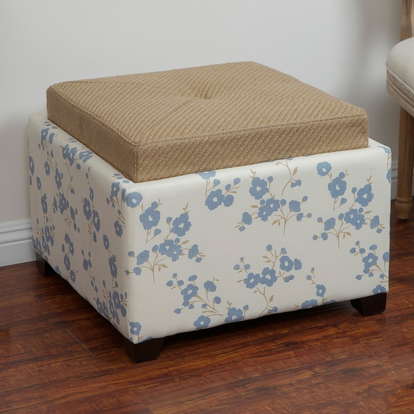 Andrea Blue Flower Fabric Tray-top Storage Ottoman by Christopher Knight Home